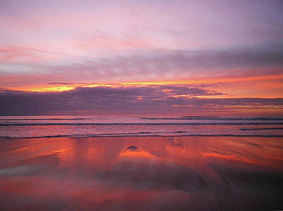 Photograph - Purple And Gold Sunset Sandymouth Cornwall by Richard Brookes