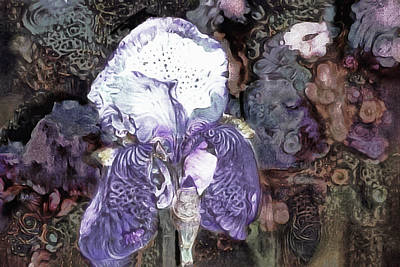 Mixed Media - Purple Bearded Iris by Susan Maxwell Schmidt