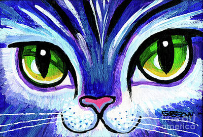 Animals Paintings - Purple Cat Face With Green Eyes by Genevieve Esson