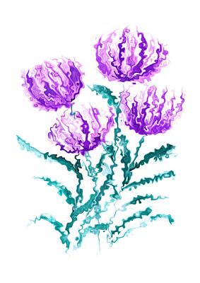 Painting - Purple Chrysanthemum Flowers by Steven Clarke