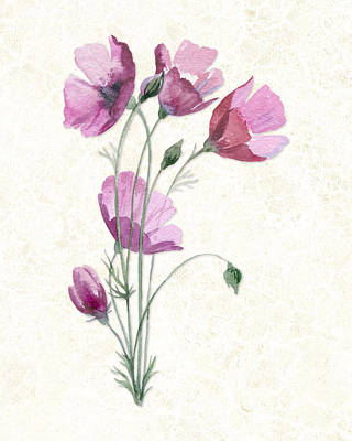 Cosmos Flowers Painting - Purple Cosmos Flowers On Subtle Cream Marble by Elaine Plesser