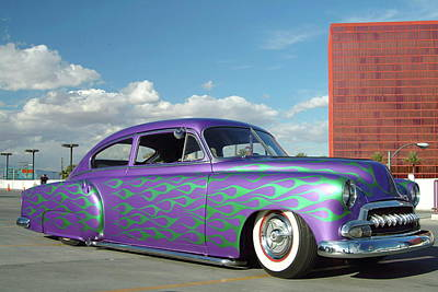 Photograph - Purple Customised Vintage Hotrod Car by Diverse Images/uig