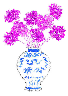 Mixed Media - Purple Flowers In Ming Dynasty Blue And White Porcelain Vase by Steven Clarke
