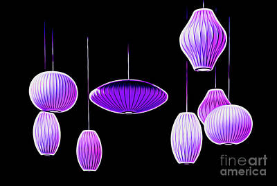 Photograph - Purple Hanging Lights by Mel Steinhauer