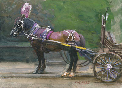 Painting - Purple Horse Carriage by Walter Lynn Mosley