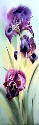 Painting - Purple Iris Flowers by Alina Oseeva