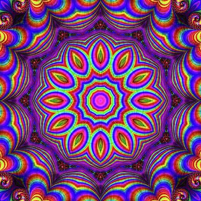 Digital Art - Purple Rainbow Flower Kaleidoscope by Cindy Boyd