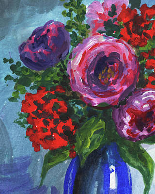 Painting - Purple Red And Pink Flowers Bouquet Floral Impressionism  by Irina Sztukowski
