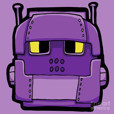 Digital Art - Purple Robot Head 02 by Sean McMenemy