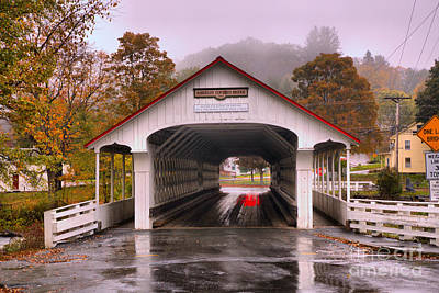 Photograph - Purple Skies Over The Ashuelot Covered Bridge by Adam Jewell