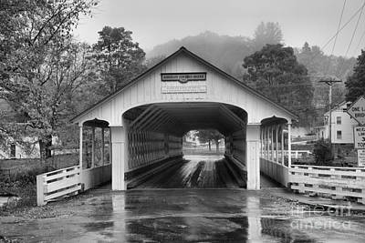 Photograph - Purple Skies Over The Ashuelot Covered Bridge Black And White by Adam Jewell