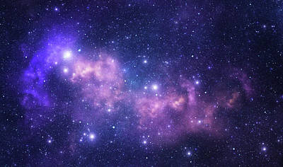 Photograph - Purple Space Stars by Sololos