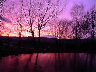 Jonny Jelinek Royalty-Free and Rights-Managed Images - Purple Winter Sunset Over The Lake by Jonny Jelinek
