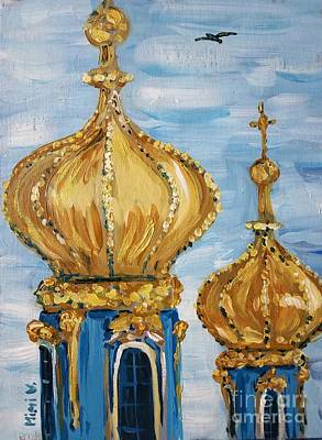 Painting - Pushkin Palace Towers by Maria Langgle
