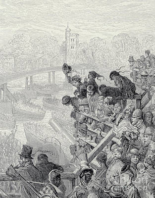Drawing - Putney Bridge  The Return, From London, A Pilgrimage by Gustave Dore