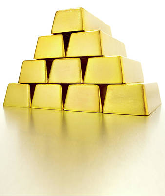 Pyramid Of Gold Bars Art Print by John Kuczala