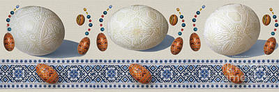 Mixed Media - Pysanky Eggs - Chicken Goose Ostrich by Nancy Lee Moran