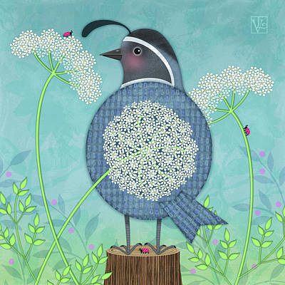 Q Is For Quail And Queen Anne's Lace Art Print