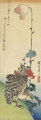 Animals Paintings - Quail and poppies, Hiroshige I, Utagawa, 1830 - 1835 by Celestial Images