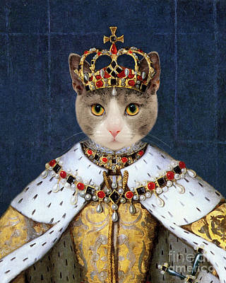 Surrealism Royalty-Free and Rights-Managed Images - Queen cat Elizabeth I by Delphimages Photo Creations