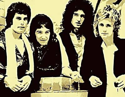 Abstract Animalia - QUEEN Freddie Mercury, Brian May, Roger Taylor, John Deacon PAINTING MALEREI CADRE DIPINTO MARCO by Artista Fratta