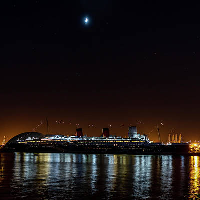 Photograph - Queen Mary And The Moon - Square by Gene Parks