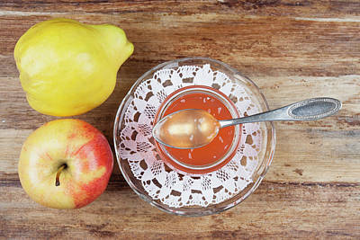Jar Photograph - Quince And Apple Jam In Jar With Fruit by Westend61