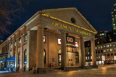 Photograph - Quincy Market - Go Pats - Boston by Joann Vitali