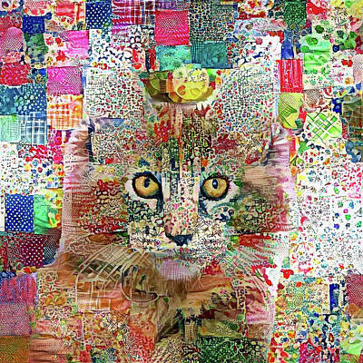 Digital Art - Quinn The Quilted Maine Coon Cat by Peggy Collins