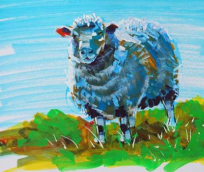 Painting - Quirky Blue Sheep Painting by Mike Jory