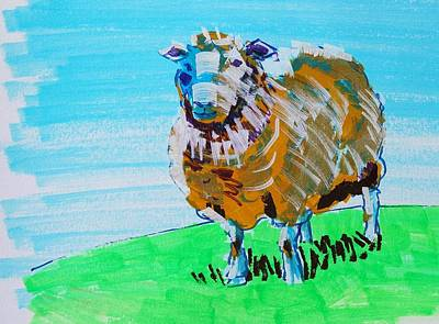 Painting - Quirky Sheep Painting Gold And Blue by Mike Jory