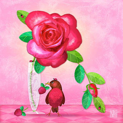 Digital Art - R Is For Rose And Robin by Valerie Drake Lesiak