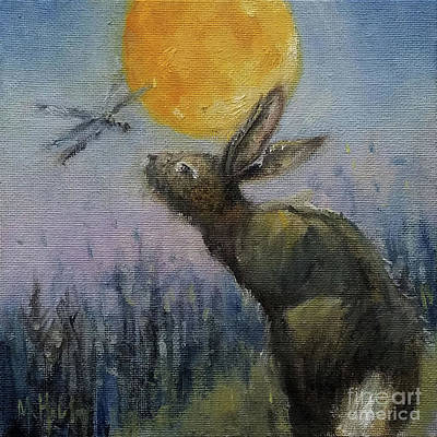 Painting - Rabbit And The Dragonfly by Mary Hubley