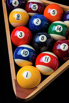 Photograph - Racked Billiard Balls by Garry Gay