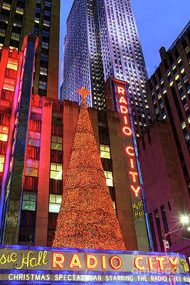 Photograph - Radio City Music Hall Christmas Lights by John Rizzuto