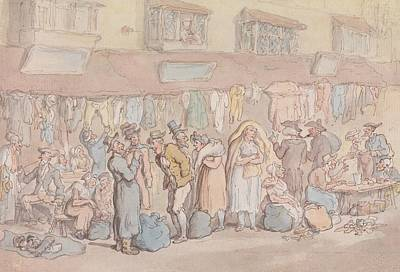Drawing - Rag Fair Or Rosemary Lane by Thomas Rowlandson