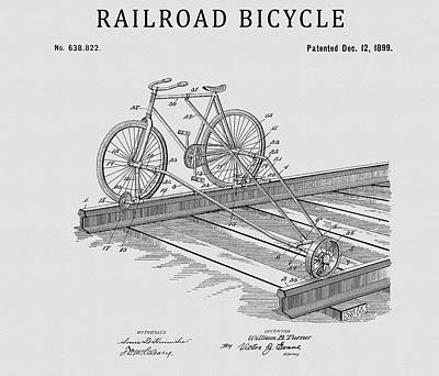 Drawing - Railroad Bicycle by Dan Sproul