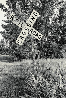 Photograph - Railroad Crossing 10 Veritcal B W 1 by Joseph C Hinson Photography