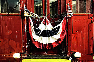 Photograph - Railroad Passenger Car W/ Flag Banner by Paul W Faust - Impressions of Light