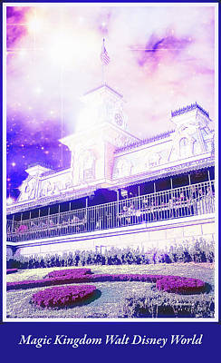 Digital Art - Railroad Station Magic Kingdom Walt Disney World, Fantasy Starry by A Gurmankin