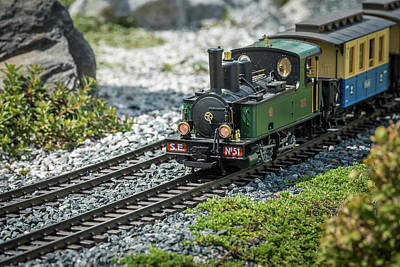 Winter Animals Rights Managed Images - Railway modelling train outdoors on a sunny day Royalty-Free Image by Stefan Rotter