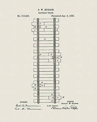 Drawing - Railway Track Patent by Dan Sproul