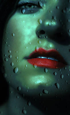 Photograph - Rain Droplets On Young Womans Face by A.l. Canterbury