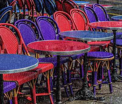 Photograph - Rain On Paris Tables by Gary Karlsen