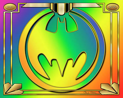 Digital Art - Rainbow Bat Design by Chuck Staley