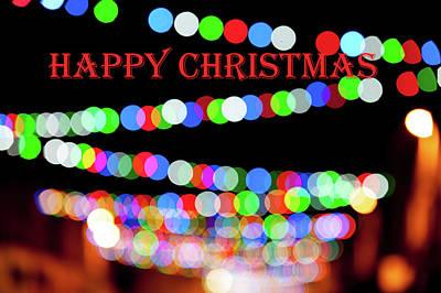 Photograph - Rainbow Bokeh - Happy Christmas by Helen Northcott