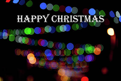 Photograph - Rainbow Bokeh - Happy Christmas IIi by Helen Northcott