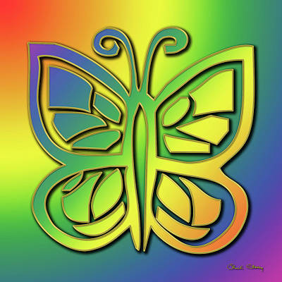 Digital Art - Rainbow Butterfly by Chuck Staley