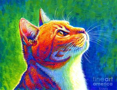 Painting - Rainbow Cat Portrait by Rebecca Wang