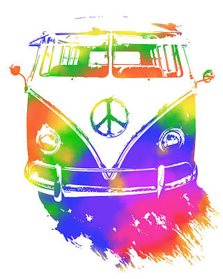Digital Art - Rainbow Colored Peace Bus by David King
